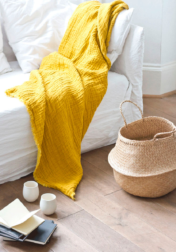 Boudie and Fou | Seagrass Basket Yellow Throw | Est Magazine