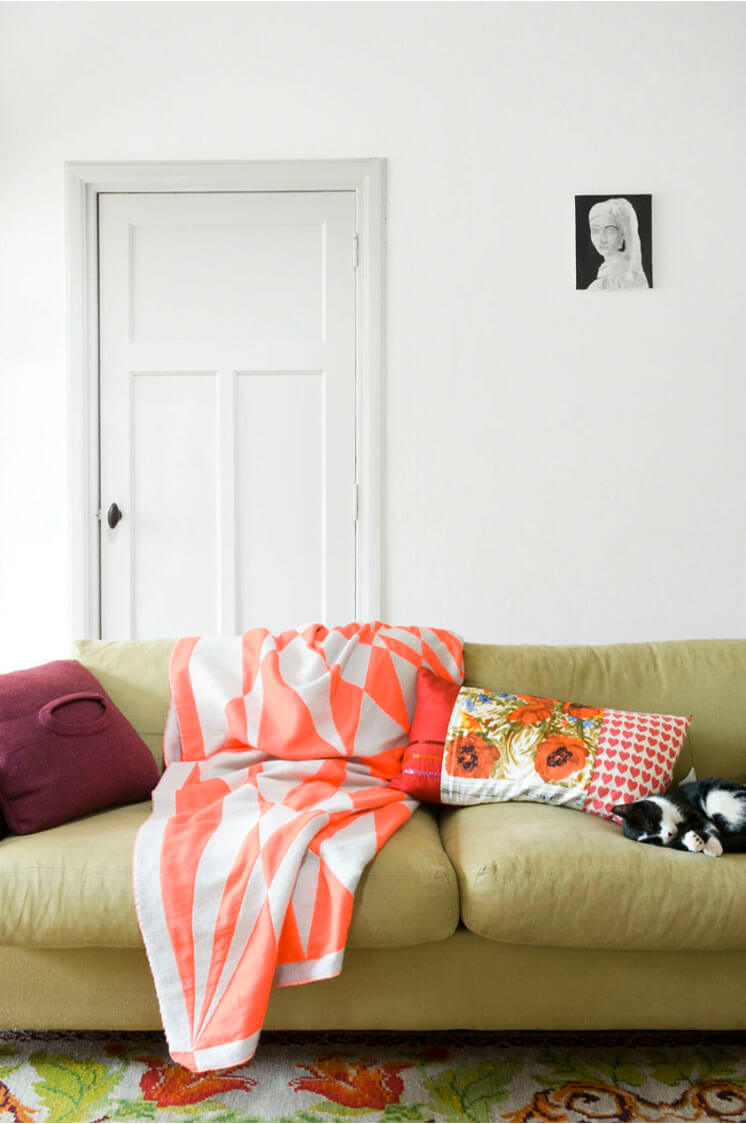 Marjon Hoogervorst Photographer| Sofa Orange Striped Throw | Est Magazine