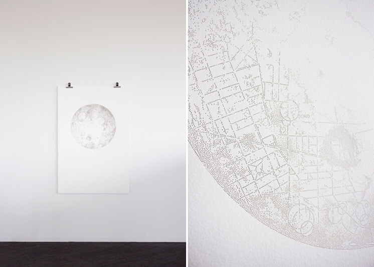 Miso | Moon A Map of London on the Riots pin pricks on paper | Est Magazine