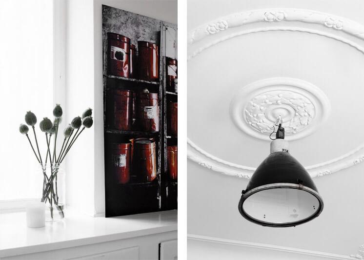 Industrial Pendant and Poppies | Yvonne Kone Home | © Line Klein for Elle Decoration | Est Magazine