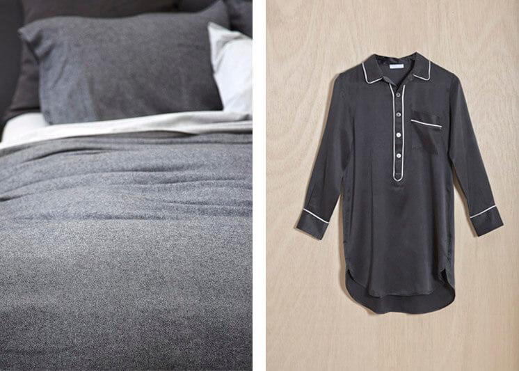 Abode Living Autumn 2013 Charcoal Bed Linen and Drea Nightshirt Est Magazine