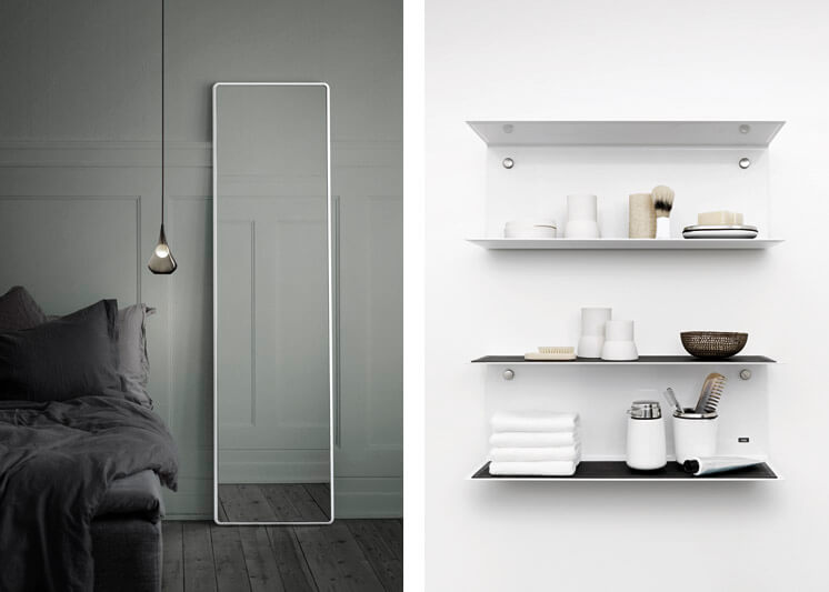 Vipp | Bedroom Mirror and Bathroom Shelf | Est Magazine