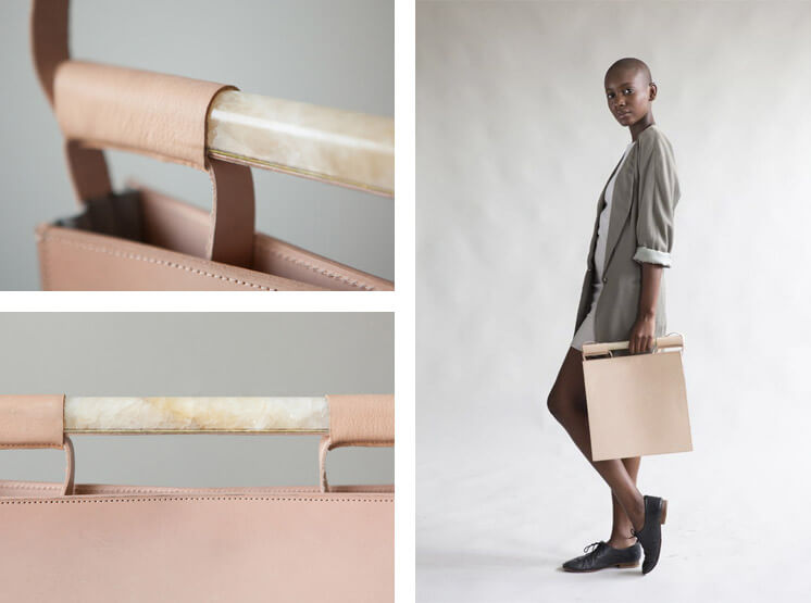 Chiyome | Squared Bag Nude Grey Leather Marble Brass | Est Magazine