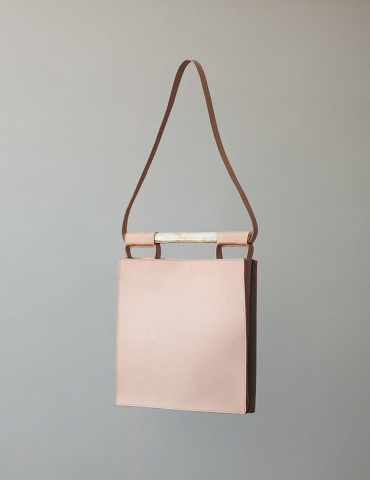 Chiyome | Squared Bag Nude Leather Marble Brass | Est Magazine