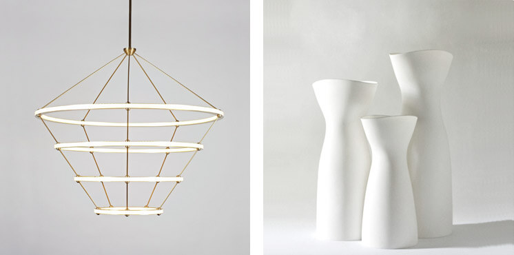 The Future Perfect | Halo Chandelier, 4 Rings by Paul Loebach & Porcelain Pitcher by Ryota Aoki | Est Magazine