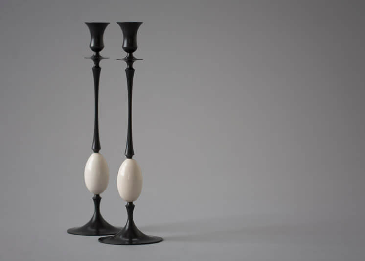 Collaboration - Ted Muehling - Biedermeier Candlesticks (Oxidized Bronze with Fossil Ivory Eggs)