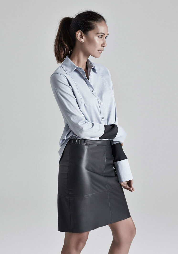 Shepard Chambray Shirt Platinum Black Leather Skirt Viktoria + Wood Lindi Klim Capsule Collection Est Magazine