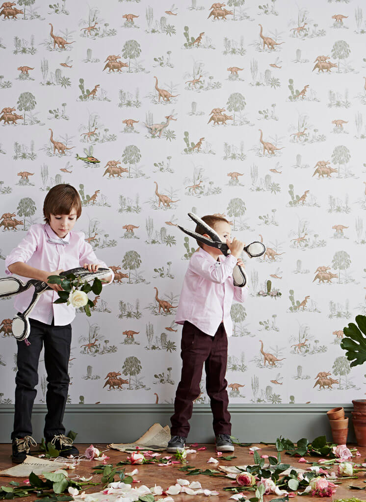 Boys Cutting Flowers Magnetic Dino Wallpaper Sian Zeng | © Jon Day | Est Magazine