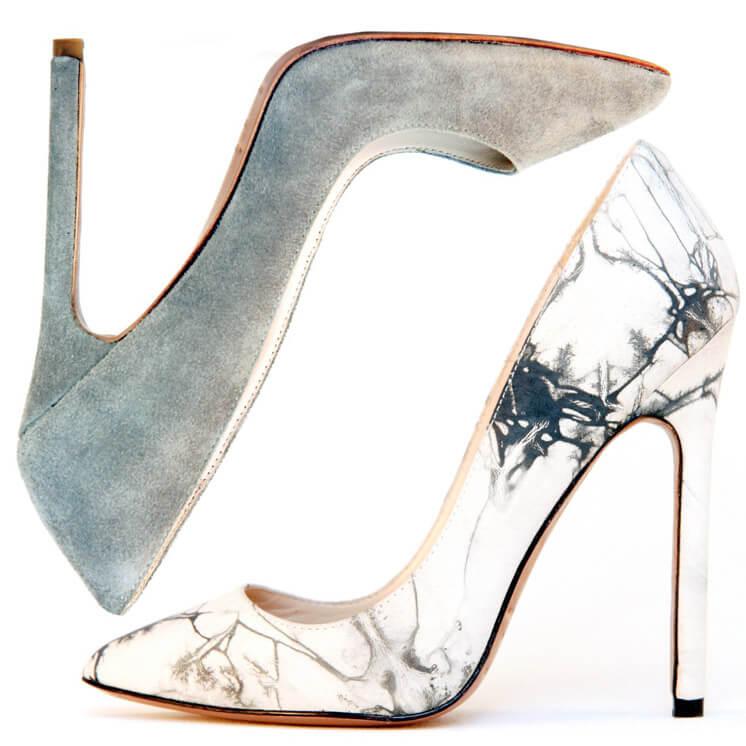 Gilda Dusty Grey and Tie Dye Pump Heel |  | Lauren Martinis | Est Magazine