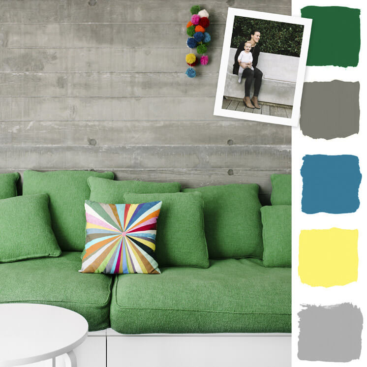 Green Sofa | Colour Chronicles Jane and Simon Hayman | Bauwerk Colour | © Brooke Holm | Est Magazine