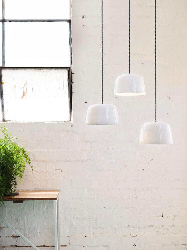 Medium Potter White Pendant Lights with Satin Glaze | Bruce Rowe Anchor Ceramics | © Scottie Cameron | Est Magazine