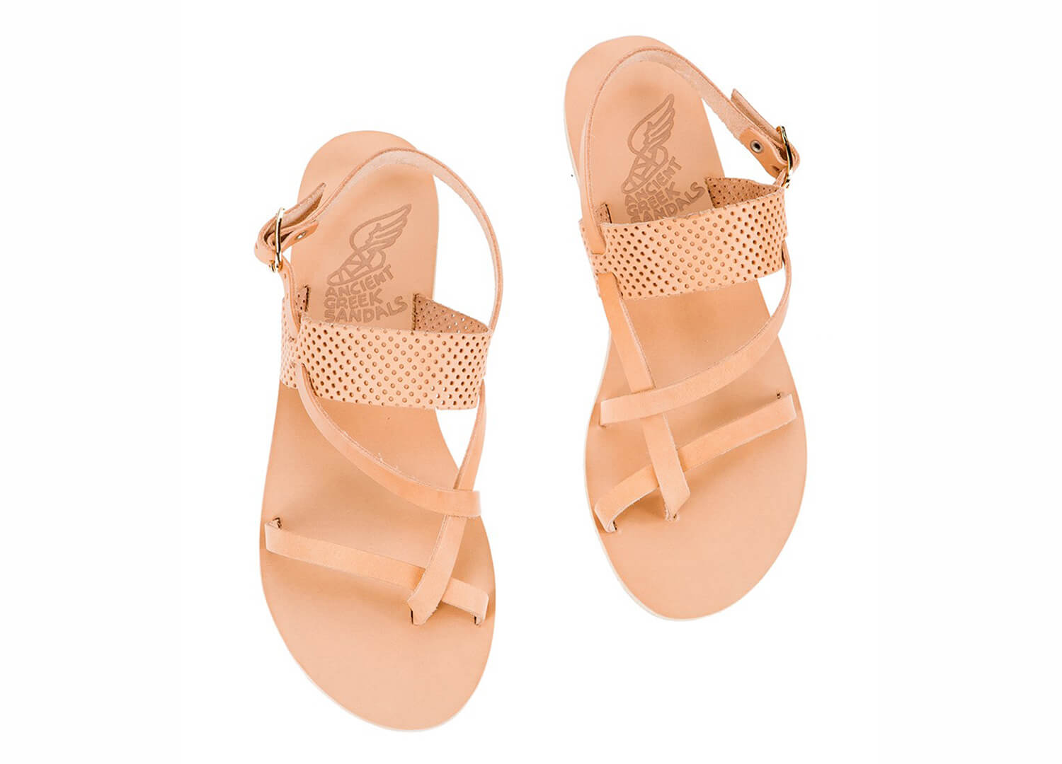 est living ancient greek sandals alethea natural perforated natural leather straps 1