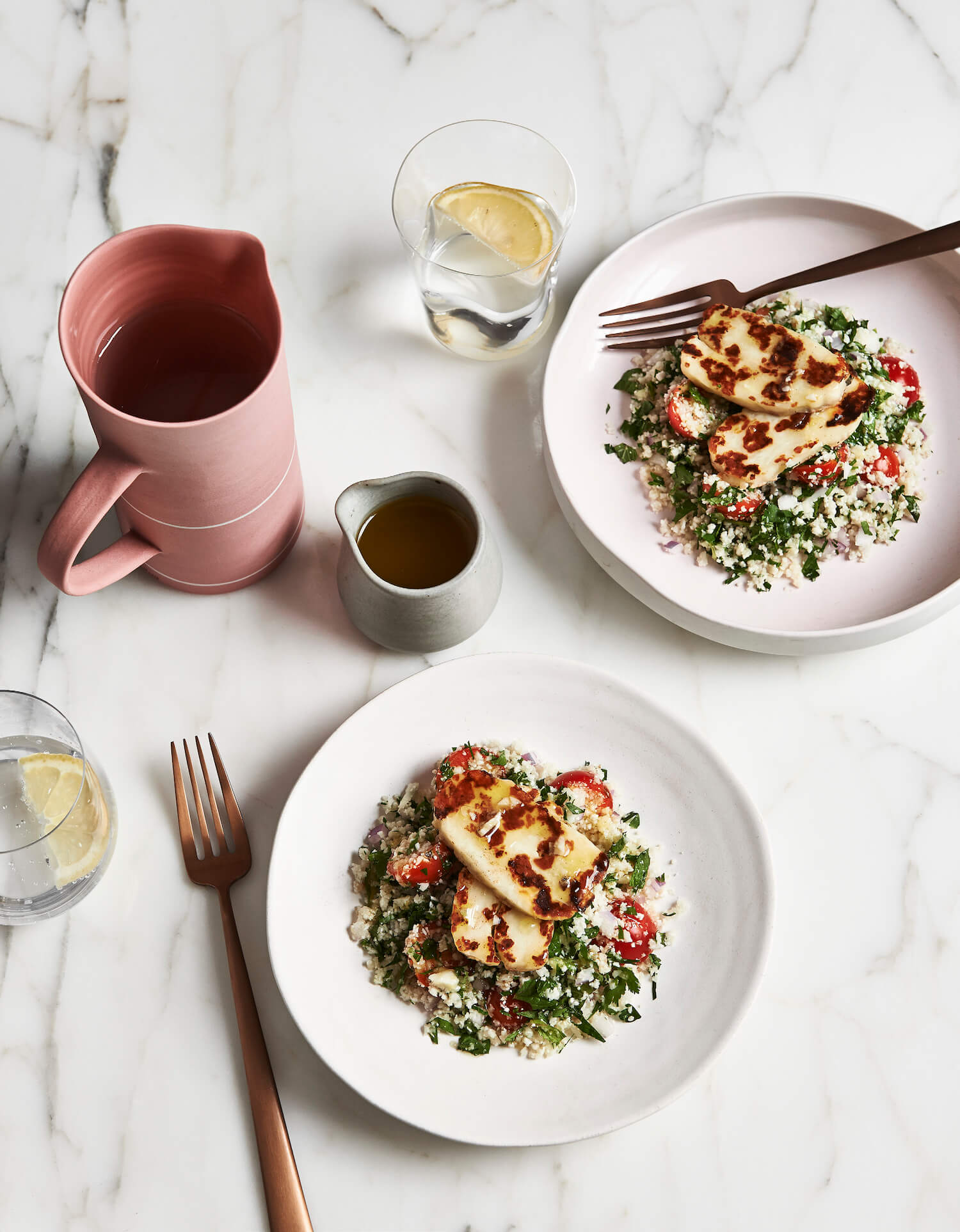 The Beauty Chef recipes |  raw cauliflower and lemon tabouli with haloumi | est living