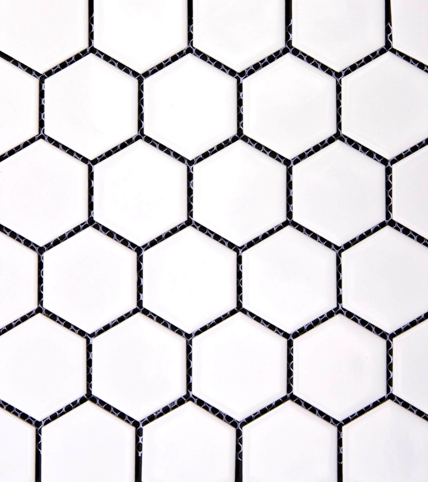 MATT WHITE 51MM HEXAGON MOSIAC BYZANTINE DESIGN