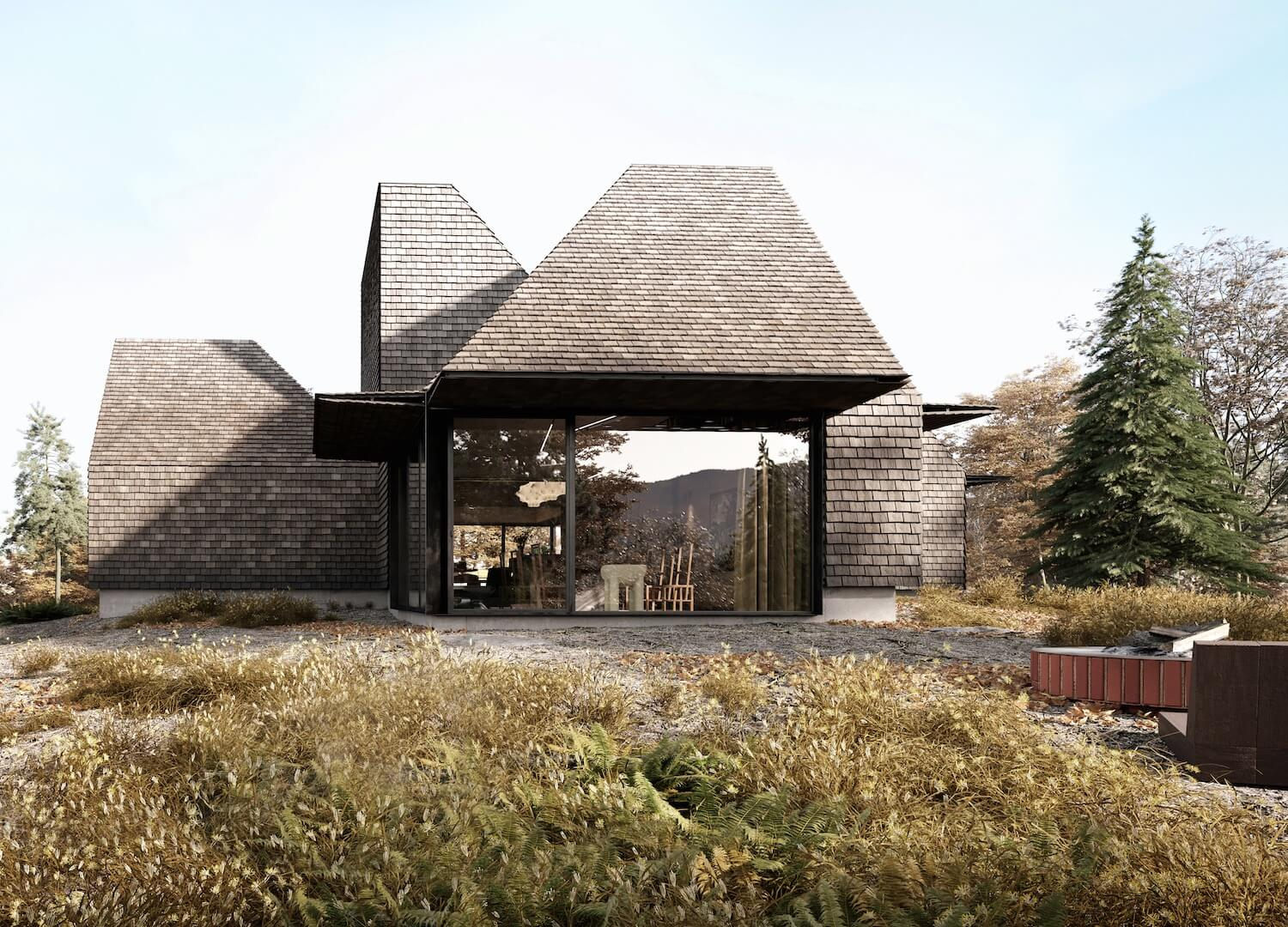 est living global interiors 2 Corpus Studio Craggy Cabin exterior perspective