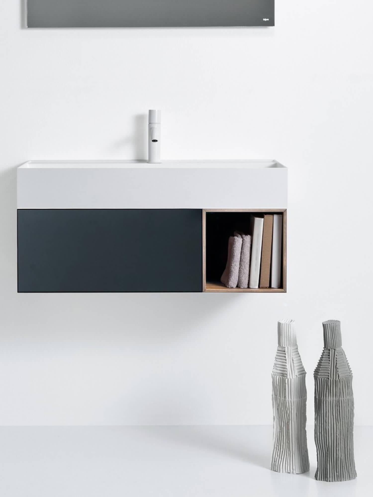 Falper Quattro Zero 800mm Basin with Integrated Grey and Oak Cabinet Integrated Cabinet and Basins 1