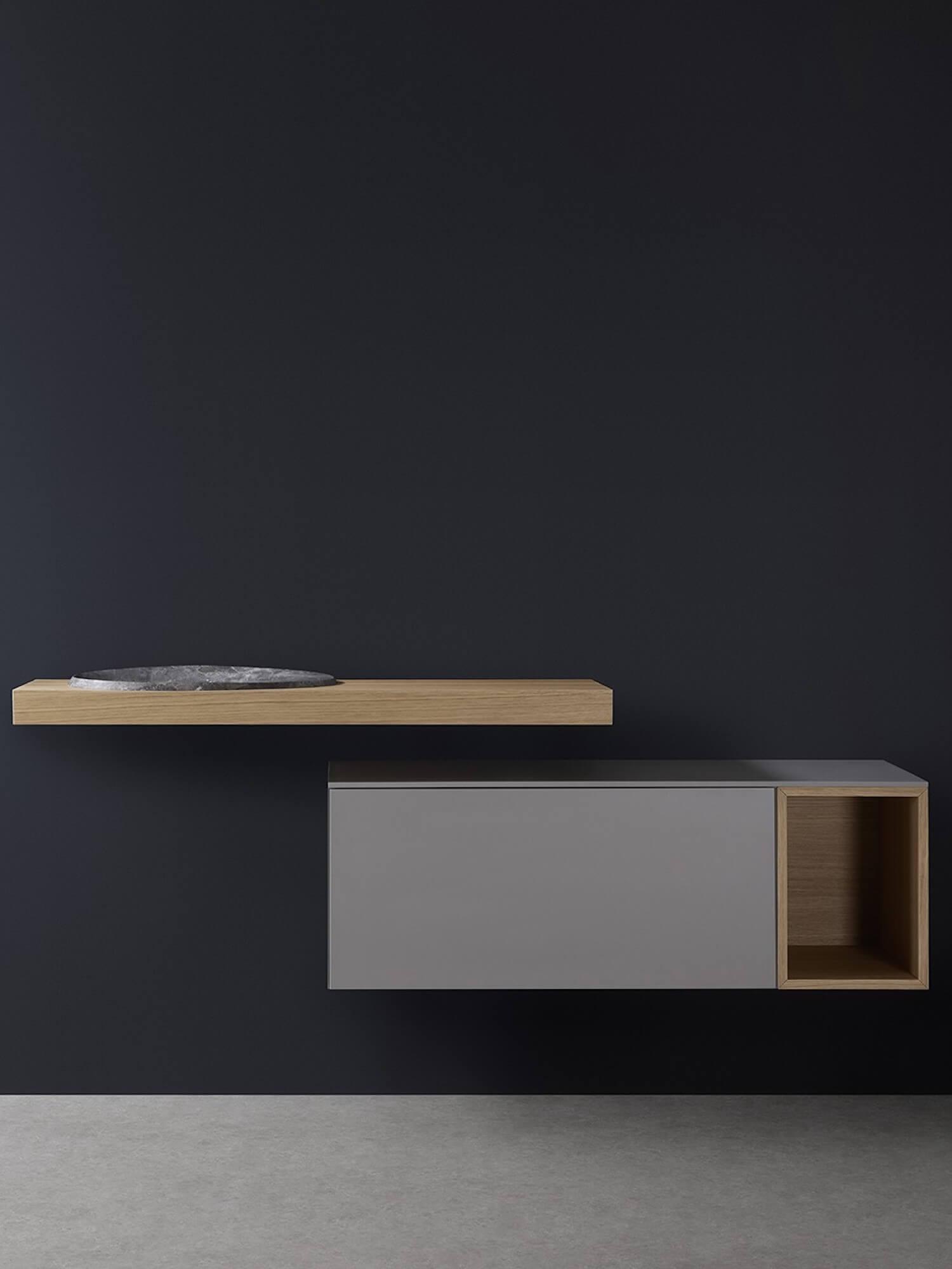 est living caldera furniture by rogerseller bathroom furniture oak floating benchtop with oval grey basin 1