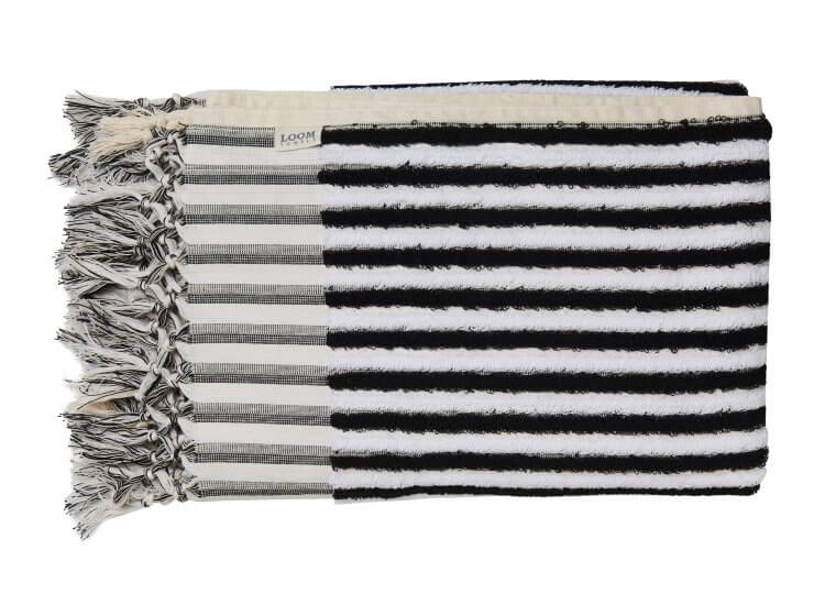 Black and White Stripe Towel Loom Towels