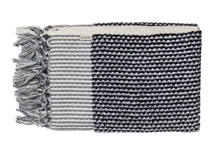 Loom Black and White Weave Bath Towel
