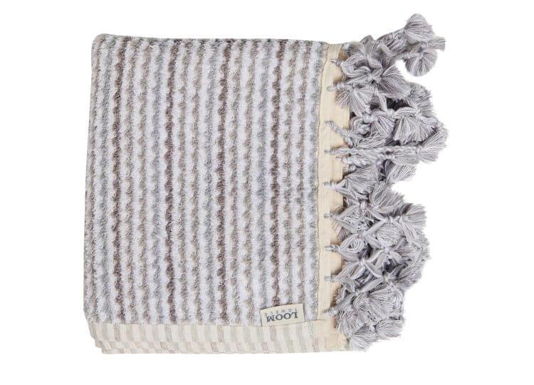 Loom Grey and White Wave Bath Mat Loom Towels