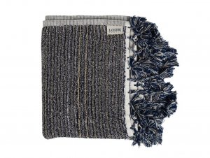 Loom Navy and Cream Stripe Bath Mat